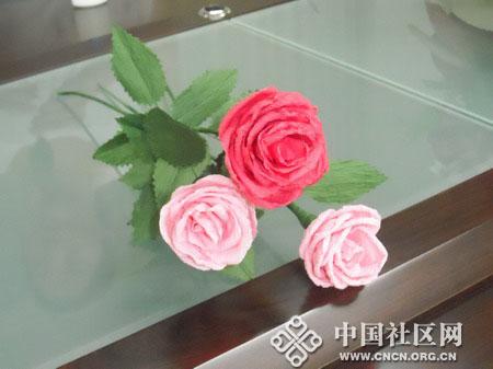 纸藤玫瑰的制作方法